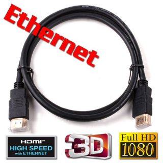2m HDMI Kabel High Speed 1.4a mit Ethernet 3D Goldstecker